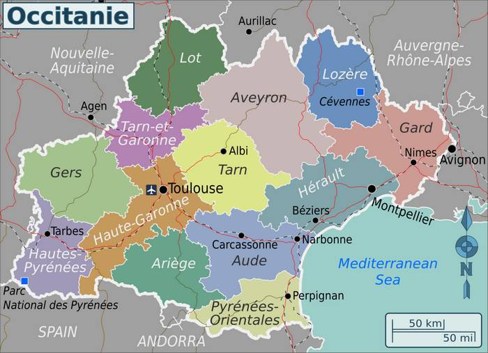 carte des départements de l'Occitanie